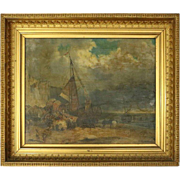 Continental School Oil on Canvas, Moorish Seascape and Beached Ship, circa 1874