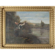 Antique French Folk Art Oil on Canvas River Scene Painting, circa 1880