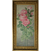 Antique French Floral Still Life of Pink Rose Yard Long Oil on Board, circa 1900