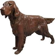Antique Figural Copper over White Metal Dog Sculpture of Irish Setter circa 1900
