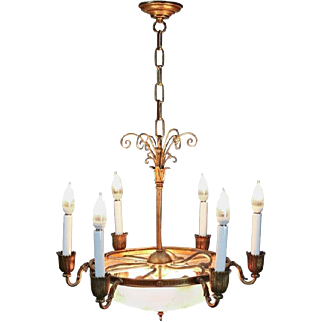 Antique French Twelve-Light Bronze and Etched Glass Chandelier, circa 1900