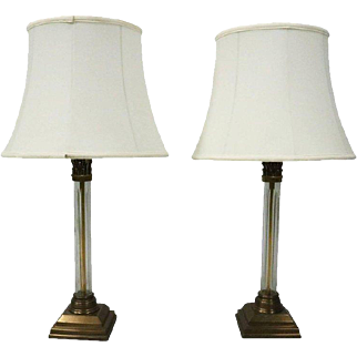 Pair of Vintage French Neoclassical Bronze and Crystal Table Lamps, circa 1960