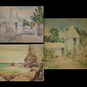 Vintage Set of Three Watercolor Prints by Treidler of Bermuda Coastal Scenes