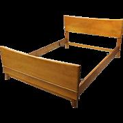 Vintage Heywood-Wakefield Kohinoor Yellow Birch Double Bed Frame, circa 1950