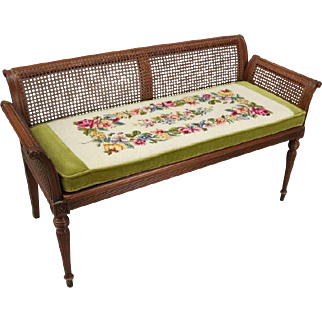 Antique French Classical Carved Mahogany Caned Bench, circa 1840