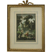 "Antique English Print of the French Painting ""La Poursuite"" by Fragonard"