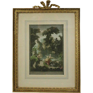 """Antique English Print of the French Painting """"La Poursuite"""" by Fragonard"""