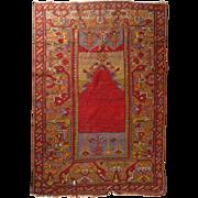 Antique Turkish Nomadic Tribal Prayer Rug, Foliate Design, circa 1900