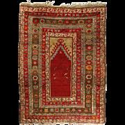 Antique Turkish Oriental Prayer Rug, Floral and Foliate Design, circa 1900
