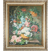 Oversized Still Life Giclee on Canvas of Floral Bouquet in Urn, 20th Century