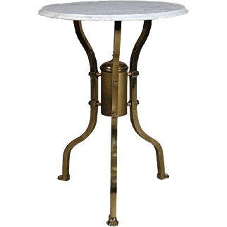 Aesthetic Movement Brass and Marble Round Parlor Table, Paw Feet, Made in Italy