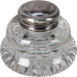 Antique French Cut Crystal and Sterling Silver Dedication Inkwell, 1896