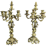 Pair Antique French Rococo Louis XIV Bronze Candelabra, circa 1850