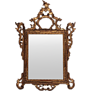 18th Century First Finish Louis XIV Giltwood Carved French Mirror