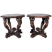 Pair of Antique Italian Baroque Style Marble-Top Stands, circa 1890