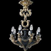 Antique French Napoleon III Gilt Bronze Eight-Light Gas Chandelier, circa 1860