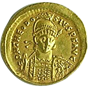 Ancient Roman Gold Solidus of the Emperor Theodosius II