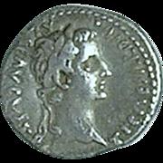 Tiberius; Ancient Roman Silver Denarius