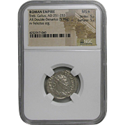Trebonianus Gallus; Ancient Roman Silver Double Denarius