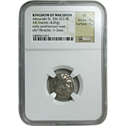 Alexander III (The Great); Silver Drachm; Kingdom of Macedon