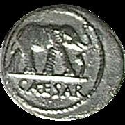 Julius Caesar Silver Denarius; Coin Struck in 49 BC in an Italian Mint
