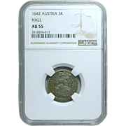 Austria; 3 Kreuzer Silver Coin; Hall Mint