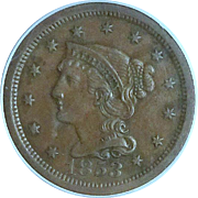 U.S. Braided Hair Large Cent; 1853; High Grade