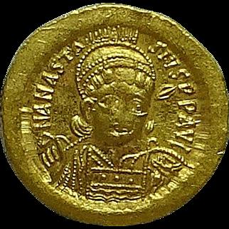 ANASTASIUS I; Byzantine Gold Solidus; Victory Reverse