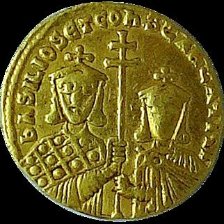 BASEL I, The Macedonian; Byzantine Gold Solidus; Christ Reverse