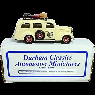 "1939 Ford Tour Bus ""Glacier Park Transportation Company""; A Durham Classic; NIB; Mint with COA"