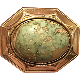 Antique Victorian Natural Turquoise Cabochon Gold Filled Brooch