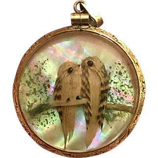 Antique Victorian Feathered Double-Sided Bird Pendent Etched Gold Filled Frame Convex Glass