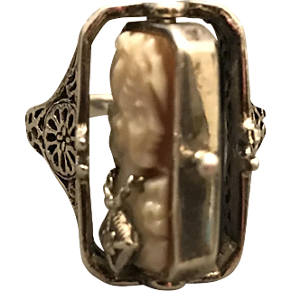 Art Deco Cameo & Onyx FLIP Ring in Sterling Silver