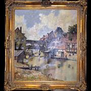 J Hohenberger Original Old World European Landscape Oil Painting Museum Frame