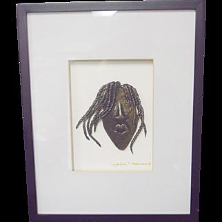 Lynda E Bibbs Original 3D Woman/Braided Hair Face/Mask Black & Gold Wall Art COA
