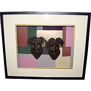 Lynda E Bibbs Original TWO 3D Face/Masks Black/Gold African American Art Signed