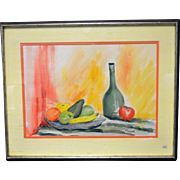 Vintage Mid Century Modern Still Life Original Watercolor Painting Signed
