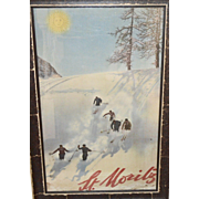 Original 1935 Framed St Moritz (Switzerland) Ski Poster Downhill Skiers by Walter Herdeg