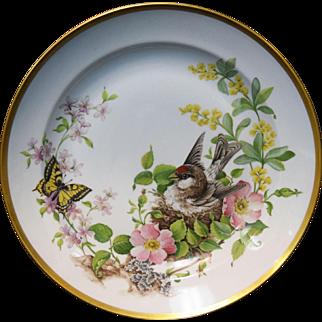 "Kaiser Floralie 12"" Porcelain Gold Rimmed Plate Bird in Nest w/Butterfly Germany"