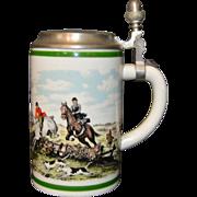 """Vintage German Kaiser Porcelain Lidded Beer Stein w/ Fox Hunt Scenes, 6"""" Tall Germany"""