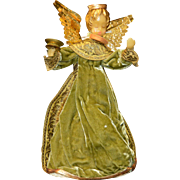 "Vintage Koestel Wax Angel Tree Topper Christmas Ornament 12.5"" Tall, W Germany"