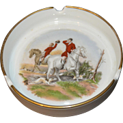 "Vintage Kaiser Gold Rimmed Ashtray w/Fox Hunt Scene 4"" Diameter Germany German Hunting"