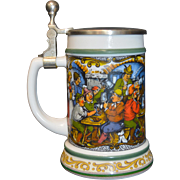 Vintage BMF German Milk Glass Beer Stein w/Pewter Lid, Pub Scene Decoration