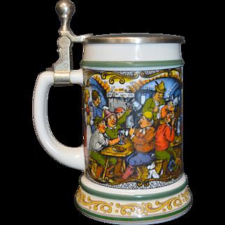 Vintage BMF German Milk Glass Beer Stein w/Pewter Lid, Pub Scene Decoration