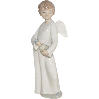 """Vintage LLadro NAO """"Angel with Musical Toy"""", 8"""" tall, 1992, Drummer Boy Mint"""