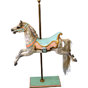 JR Anderson Galloper Carousel Horse on Brass Pole & Stand, 19th Century, Restored