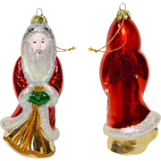 Lot 1: 11 Vintage Mercury Glass Santa Christmas Ornaments Assorted Years & Sizes