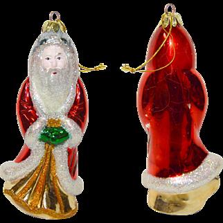 Lot 1: 11 Vintage Mercury Glass Santa Christmas Ornaments Assorted Years & Sizes