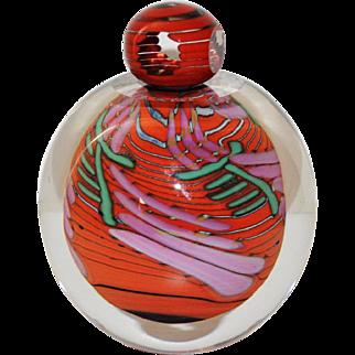 Beautiful Steven Main Signed Hand Blown Art Glass Perfume Bottle W/Stopper 1996