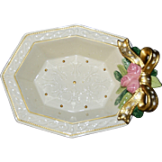"""Fitz and Floyd """"Winter Rose"""" Potpourri Dish Pink Roses Gold Bow Christmas MINT"""